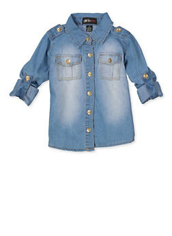 Girls 7-16 Fierce Tabbed Shoulder Denim Shirt - 3606038340228