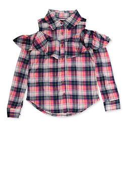 Girls 7-16 Plaid Ruffled Cold Shoulder Shirt - 3606038340229