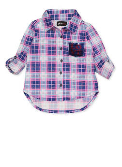 Girls 7-16 Plaid Reversible Sequin Pocket Detail Shirt - 3606038340230