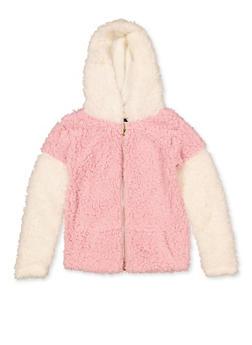 Girls 7-16 Color Block Sherpa Zip Sweatshirt - 3606038340232