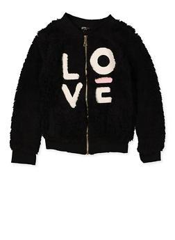 Girls 7-16 Love Zip Up Sherpa Sweatshirt - 3606038340233