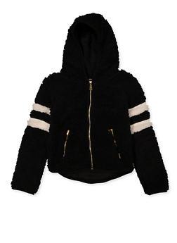 Girls 7-16 Varsity Stripe Sherpa Jacket - 3606038340238