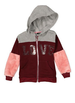 Girls 7-16 Faux Fur Sleeve Graphic Sweatshirt - 3606038341003