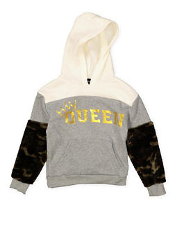 Girls 7-16 Camo Faux Fur Sleeve Graphic Sweatshirt - 3606038341004