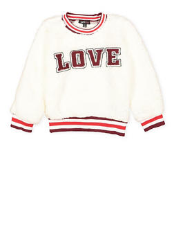 Girls 7-16 Love Graphic Sherpa Sweatshirt - 3606038341010