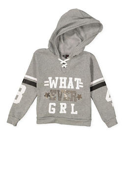 Girls 7-16 Graphic Lace Up Sweatshirt - 3606038341024