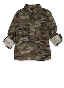 Girls 7-16 Camo Button Front Shirt - 3606051060030