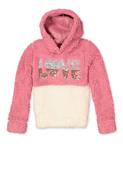 Girls 7-16 Love Color Block Sherpa Sweatshirt - 3606061950020