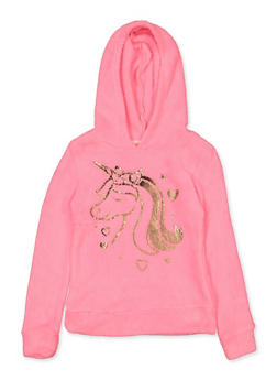 Girls 7-16 Foil Unicorn Faux Fur Sweatshirt - 3606061950025