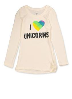 Girls 7-16 I Heart Unicorns Knit Tee - 3606061950027