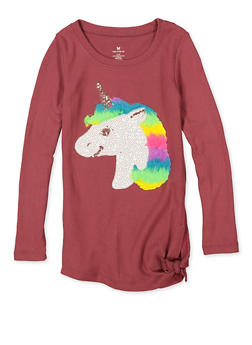 Girls 7-16 Sequin Unicorn Knit Top - 3606061950028