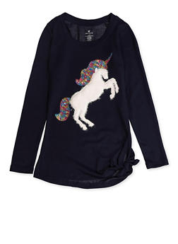 Girls 7-16 Furry Unicorn Knit Tee - 3606061950029