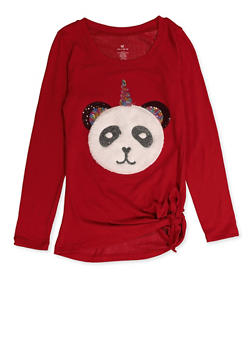 Girls 7-16 Pandacorn Patch Knit Tee - 3606061950030