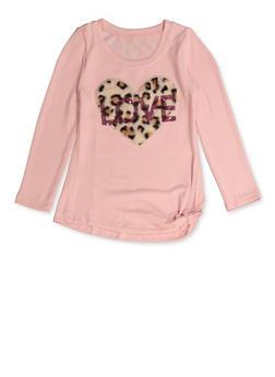 Girls 7-16 Love Heart Patch Knit Tee - 3606061950031