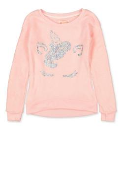 Girls 7-16 Faux Fur Glitter Unicorn Sweatshirt - 3606061950035