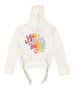 Girls 7-16 Love Graphic Lace Up Sweatshirt - 3606063400036