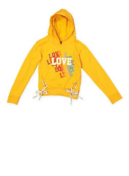 Girls 7-16 Love Graphic Lace Up Sweatshirt - 3606063400036