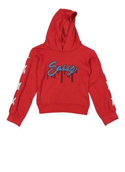 Girls 7-16 Sassy Graphic Lace Up Sweatshirt - 3606063400039