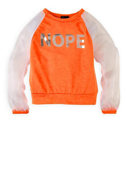 Girls 7-16 Nope Organza Sleeve Sweatshirt - 3606074280001