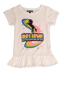 Girls 7-16 Unicorn Believe Ruffle Trim Tee - 3606075540105