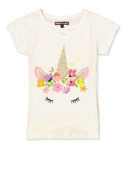 Girls 7-16 Glitter Unicorn Graphic Tee - 3606075540106