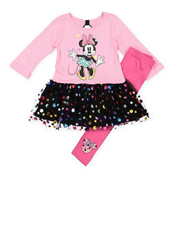 Girls 4-6x Minnie Mouse Graphic Top with Leggings - 3607009290061