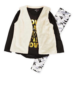 Girls 4-6x Graphic Top with Vest and Leggings - 3607038340008