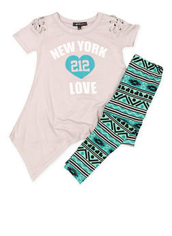 Girls 4-6x Graphic Sharkbite Top with Leggings - 3607038340040