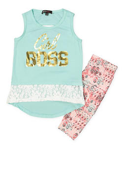 Girls 4-6x Graphic Tank Top with Printed Leggings - 3607038340041