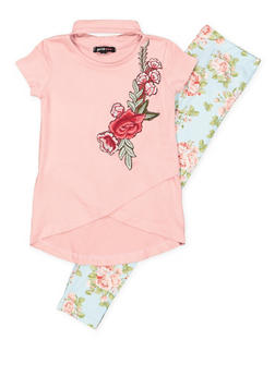 Girls 4-6x Flower Keyhole Top and Leggings - 3607038340042