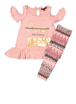 Girls 4-6x Graphic Cold Shoulder Top with Leggings - 3607038340045