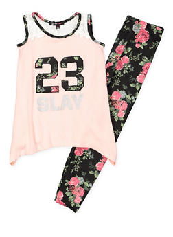 Girls 4-6x Graphic Tank Top with Printed Leggings - 3607038340046