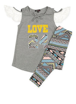 Girls 4-6x Lace Trim Top and Printed Leggings - 3607038340052
