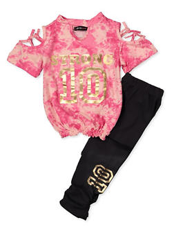 Girls 4-6x Strong Tie Dye Cold Shoulder Top with Leggings - 3607038340058