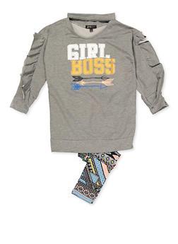 Girls 4-6x Girl Boss Top and Leggings - 3607038340059