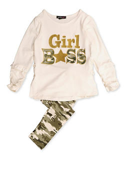Girls 4-6x Camo Girl Boss Top and Leggings - 3607038340061