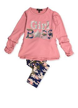 Girls 4-6x Camo Girl Boss Top and Leggings - 3607038340061