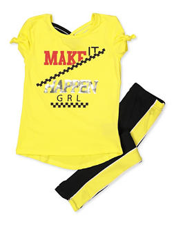 Girls 4-6x Make It Happen Grl Tee with Leggings - 3607038340075