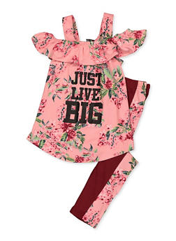 Girls 4-6x Just Live Big Floral Top with Leggings - 3607038340080