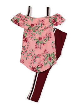 Girls 4-6x Floral Cold Shoulder Top with Leggings - 3607038340083