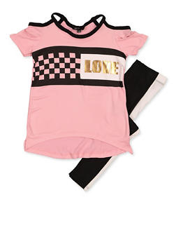 Girls 4-6x Love Cold Shoulder Top with Leggings - 3607038340090