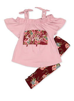 Girls 4-6x Savage Cold Shoulder Tee with Floral Leggings - 3607038340091