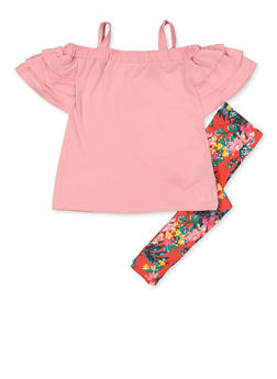Girls 4-6x Soft Knit Cold Shoulder Top with Floral Leggings - 3607038340095