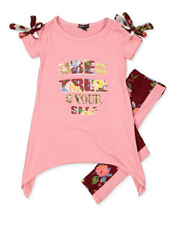 Girls 4-6x Be True 2 Yourself Top with Leggings - 3607038340097