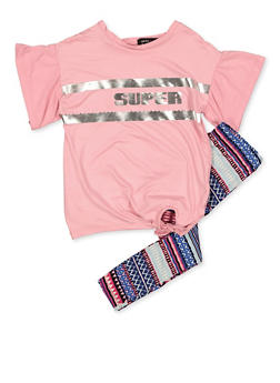 Girls 4-6x Super Tee with Aztec Print Leggings - 3607038340098