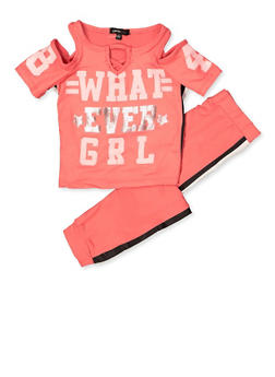 Girls 4-6x Whatever Grl Cold Shoulder Top and Joggers - 3607038340099