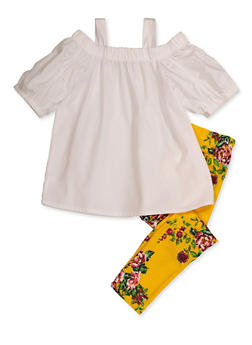 Girls 4-6x Cold Shoulder Top and Floral Leggings Set - 3607038340111