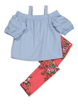 Girls 4-6x Cold Shoulder Top and Floral Leggings Set - 3607038340111