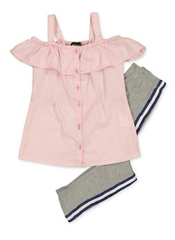Girls 4-6x Ruffled Striped Shirt with Leggings - 3607038340113