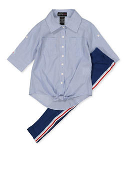 Girls 4-6x Striped Button Front Shirt with Leggings - 3607038340114